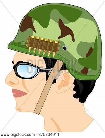 Military In Helmet On White Background Is Insulated
