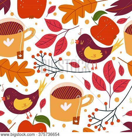 Floral Seamless Pattern. Floral Autumn Art Print. Floral Design For Wrapping Paper, Fabrics, Covers
