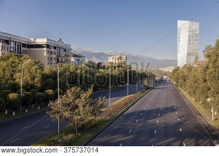 City Landscape, The Carriageway, One Of The Widest Streets To Alma-ata, Kazakhstan