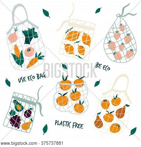 Set Of Reusable Mesh Bags With Organic Vegetables. No Plastic Concept