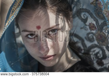 The Girl The European Covered With A Sari, A Faces Portrait