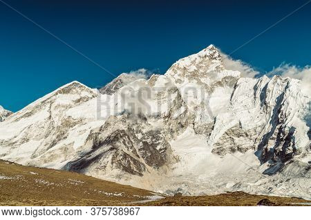 Beautifull Everest And Nuptse Mountains Landscape At The Everest Base Camp Trek In The Himalaya, Nep