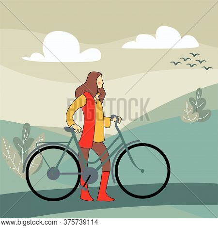 Girl Standing Next To Bicycle, Woman Riding Bike. Cute Sportswoman On Bicycle Isolated On White Back