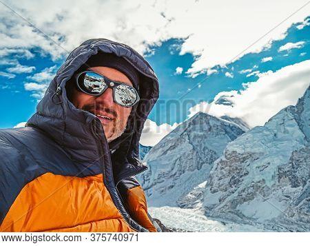 Man Making Selfie At Himalaya Mountain Everest Landscape