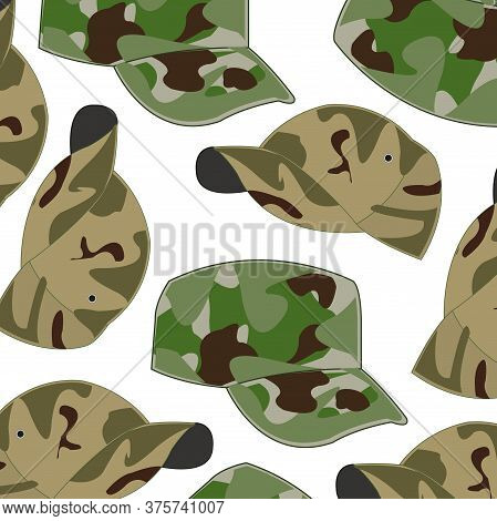 Headdress Cap Camouflage On White Background Is Insulated
