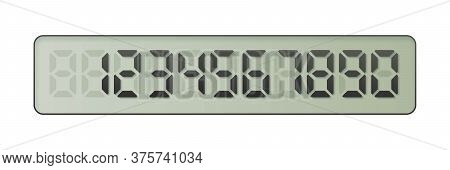 Electronic Number From One To Zero On Digital Screen. Numeral Countdown Calculation. Electronic Blac