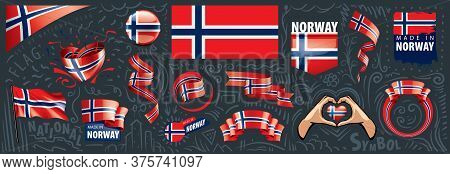 Vector Set Of The National Flag Of Norway In Various Creative Designs