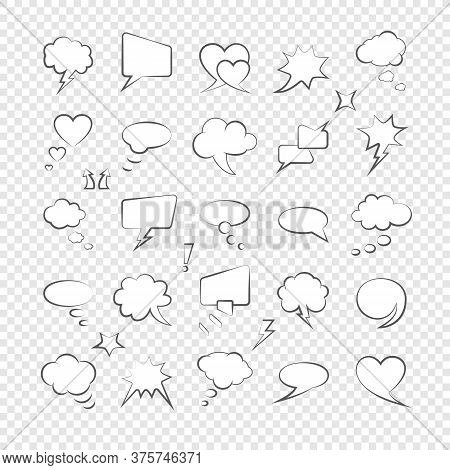Speech Comic Dialogue Retro Thinking Bubbles Vintage Word. Retro Bubbly Comic Shapes Speaking Clouds