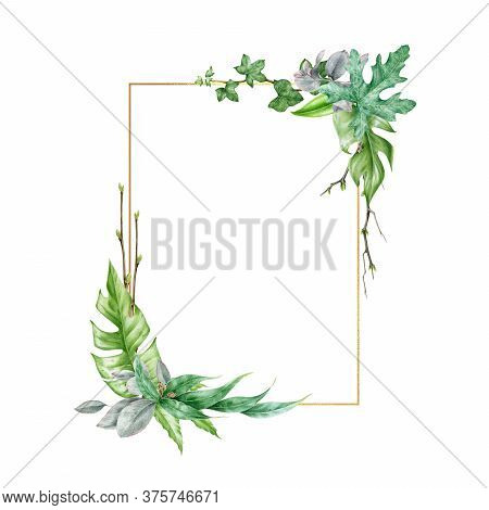 Green Leaf Arrangement With Golden Frame Watercolor Illustration. Eucalyptus, Monstera Leaves In Ele