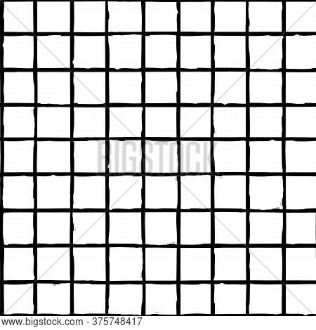 Grunge Line Vector Seamless Grid Pattern Background. Hand Drawn Brush Stroke Style Linear Criss Cros