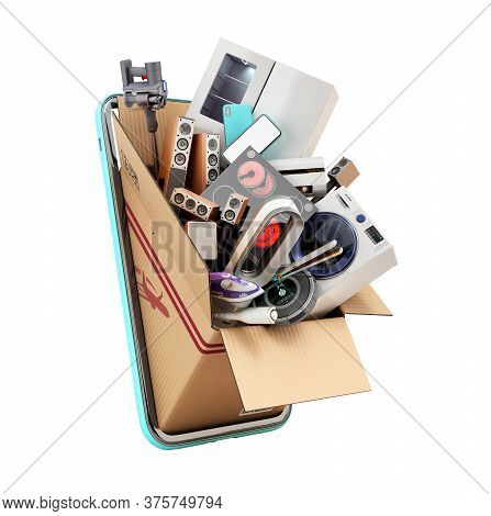 Modern Household Appliances In A Drawer Peeps From The Screen Of A Mobile Phone 3d Render On White N