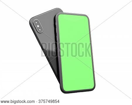 Modern Smart Phone With Blank Green Screen 3d Render On A White No Shadow
