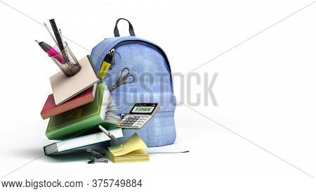 Online Learning Concept Blue Backpack With School Supplies 3d Render On White