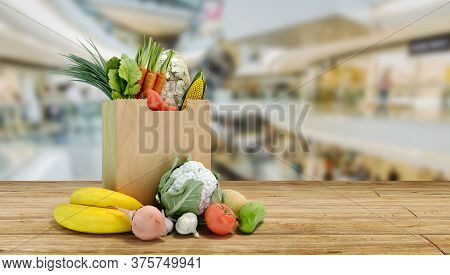Fresh Food In A Paper Bag For Products 3d Render On Sale Background