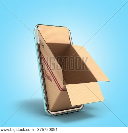 Fast Delivery Concept Empty Oprn Box Peep Out Of The Screen Of A Mobile Phone 3d Render On Blue Grad