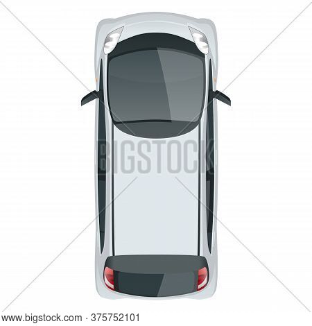 Small Compact Electric Vehicle Or Hybrid Car. Eco-friendly Hi-tech Auto. Easy Color Change. Template