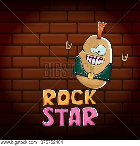Vector Funny Cartoon Cute Brown Punk Rock Star Potato Character With Iroquois Isolated On Brick Wall