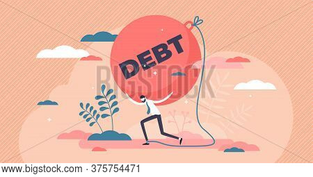 Debt Credit Crisis As Heavy Money Payment Pressure Flat Tiny Person Concept. Economical Problem With