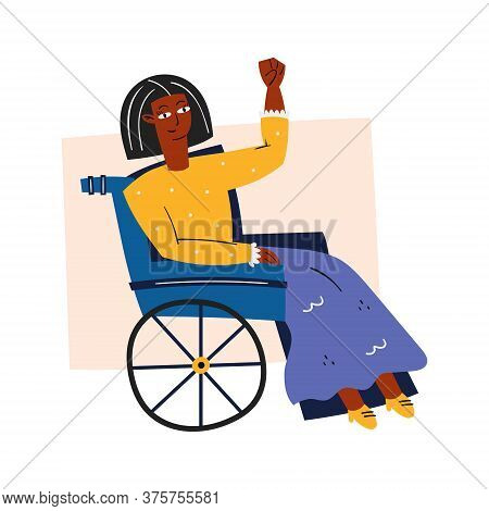Afro American Disabled Woman In A Wheelchair. Invalid. Dark Skin Color. Human Rights. Flat Vector Il