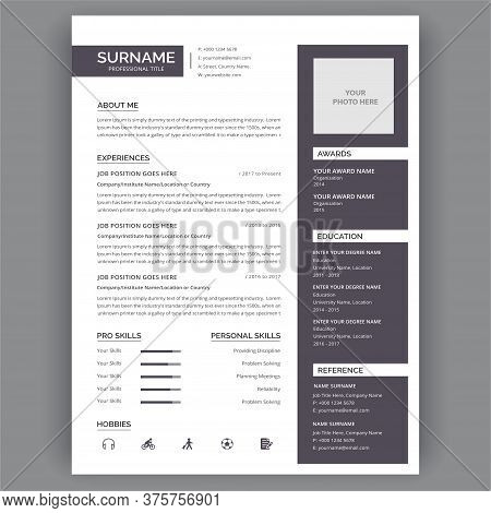 Flat Resume Infographic Design. Resume, Cv, Minimal Business Infographics Elements. Curriculum Vitae
