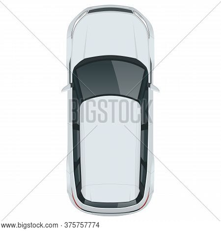 Compact Crossover, Suv, 5-door Station Wagon Car. Template Vector Isolated. View From Above