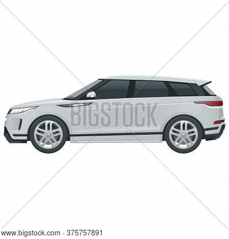 Compact Crossover, Suv, 5-door Station Wagon Car. Template Vector Isolated. View Side