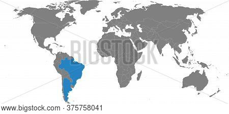 Argentina, Brazil Countries Isolated On World Map. Gray Background. Business Concepts, Travel And Tr
