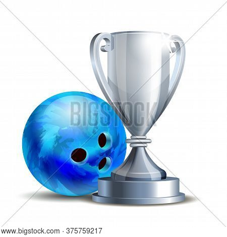 Bowling Game Award. Blue Bowling Ball And Silver Cup.