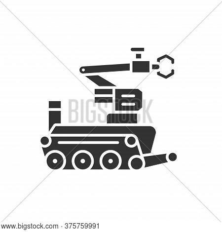 Military Robot Black Glyph Icon. Bomb-disposal Robot Or Explosive Ordnance Disposal Eod. Innovation