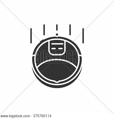 Robot Vacuum Cleaner Black Glyph Icon. Home Cleaning Assistant. Innovation In Technology. Sign For W
