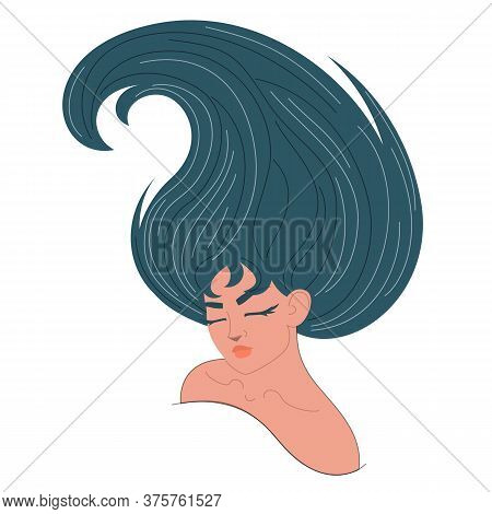 Beautiful Woman With Long Hair Vector Isolated