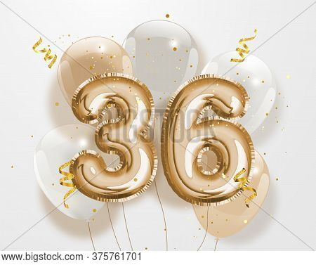Happy 36th Birthday Gold Foil Balloon Greeting Background. 36 Years Anniversary Logo Template- 36th