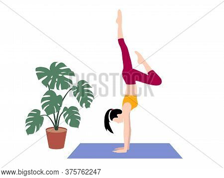 Beautiful Simple Flat Vector Of A Young Slim Woman Exercising Yoga. Handstand Pose.