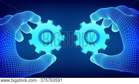 Two Hands Connect The Gears. Symbol Of Association And Connection. Building A Business System. Teamw
