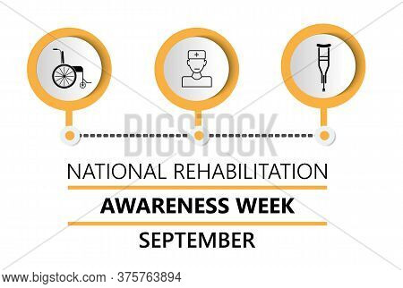 National Rehabilitation Awareness Week Is Celebrated In September. Wheelchair, Crutches, Walkers Are