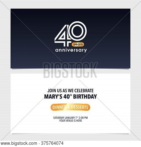 40 Years Anniversary Invitation Card Vector Illustration. Double Sided Modern Graphic Design Templat