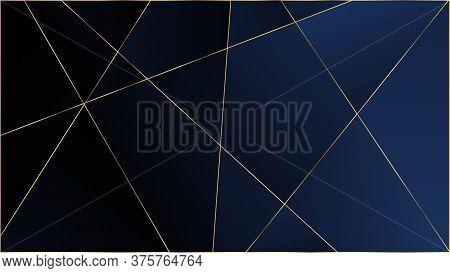 Blue Premium Triangular Pattern. Silver Rich Vip Geometric Celebration Wallpaper. Gold Lines Polygon