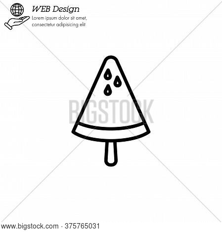 Ice Lolly Watermelon, Ice Cream Icon Thin Line, Linear, Outline. Simple Sign, Logo