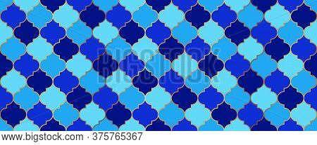 Eid Mubarak Muslim Background. Seamless Moroccan Texture Ramadan Kareem Islamic Decoration. Moroccan