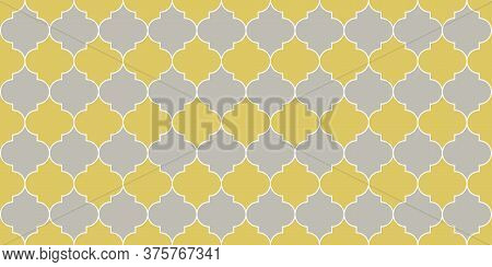 Persian Mosque Window Tile. Traditional Ramadan Mosque Golden Shape. Eid Mubarak Islam Illustration.