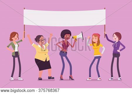 Feminist Movement Protest, Female Group With Mock Up Poster. Women In Active Gathering, Political Ca