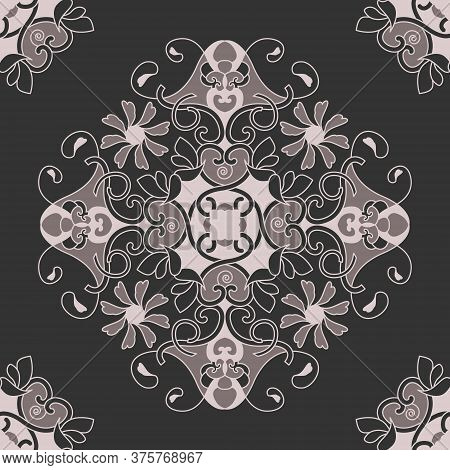 Seamless Pattern With Hearts, Interlaced Spirals And Birds. Romantic. Colors Pinkish Brown Dark And
