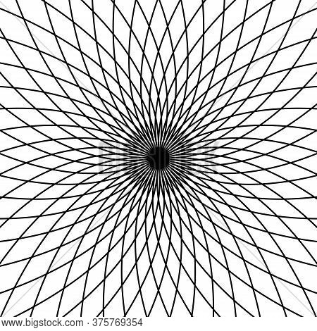Abstract Vortex Shape. Op Art. Vector Background.
