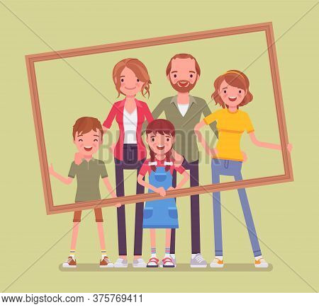 Happy Family Portrait. Father, Mother, Son And Daughter, Teen Posing In One Picture Frame Together.