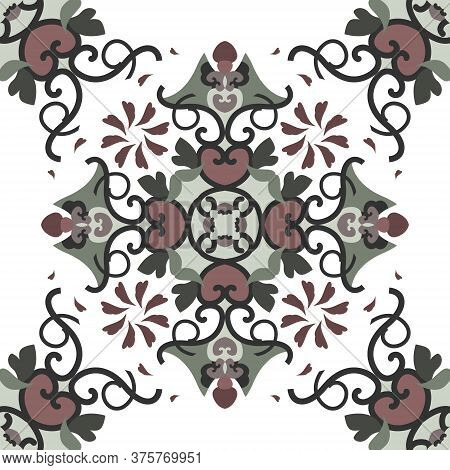Seamless Pattern With Hearts, Spirals And Birds. Colors White, Green, Dark Red And Dark Grey. Vector