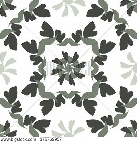 Seamless Pattern With Hearts And Birds. Colors White And Green. Vector.