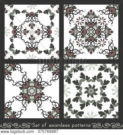 Set Of Seamless Patterns With Hearts, Spirals And Birds. Colors White, Green, Dark Red And Dark Grey