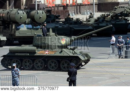 Moscow, Russia - June 24, 2020:t-34-85 Medium Tank On Okhotny Ryad During The Parade Dedicated To Th