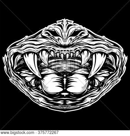 Vector Line Art Angry Skull Sticker, Concept Design. Black And White Emblem, Monochrome Sketch, Devi
