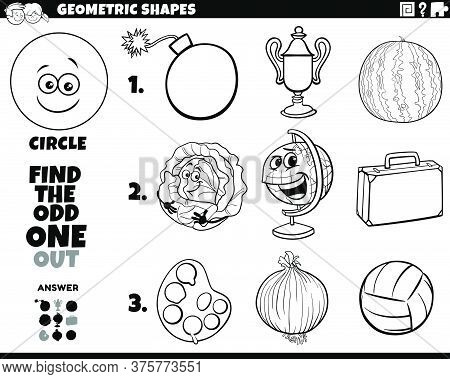 Black And White Cartoon Illustration Of Circle Geometric Shape Educational Odd Obe Out Task For Chil